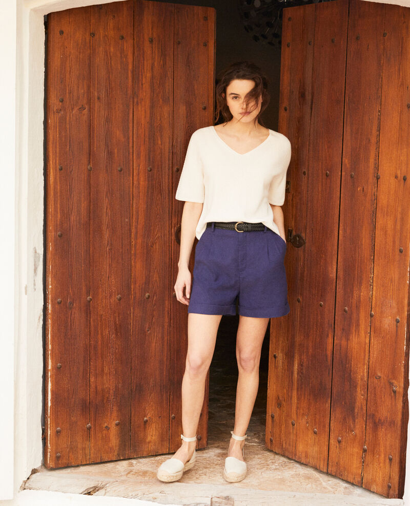 Linen blend bermuda shorts Sapphire navy Ipote