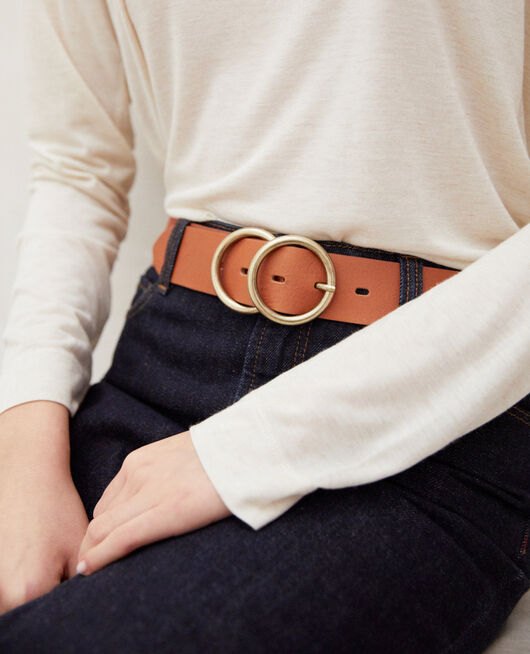 Twin buckle leather belt CAMEL