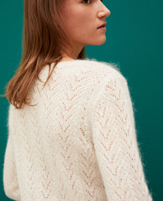 Jumper with mohair and lurex OFF WHITE