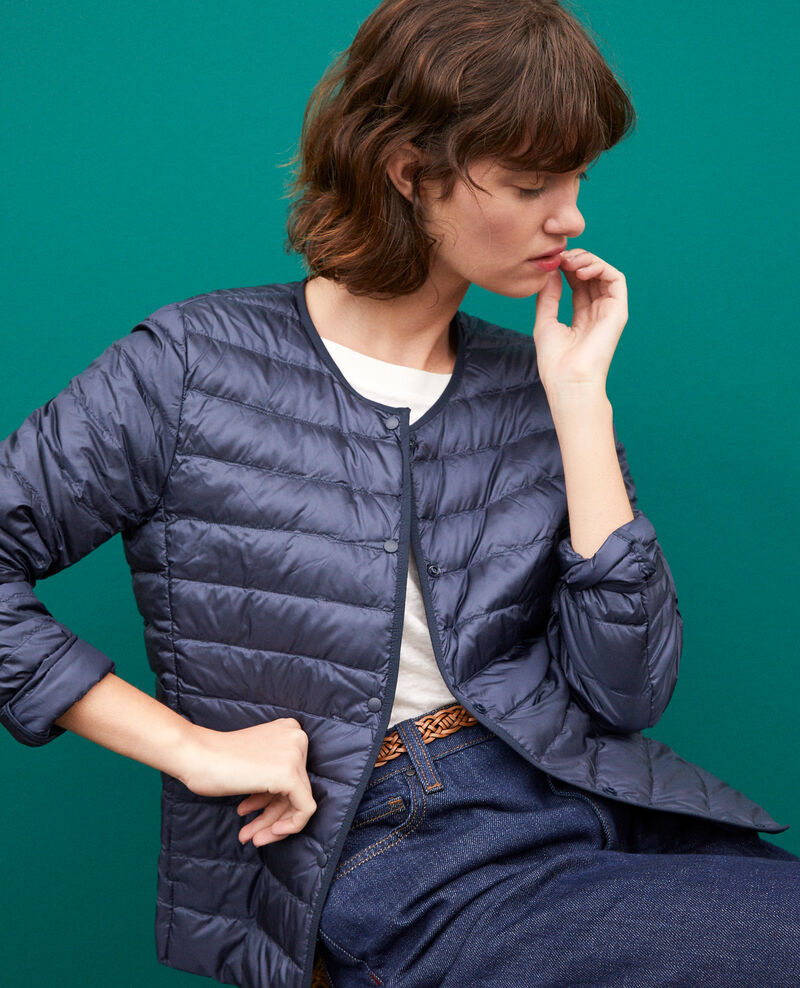 Ultra-light padded jacket with round collar Blue Fildown