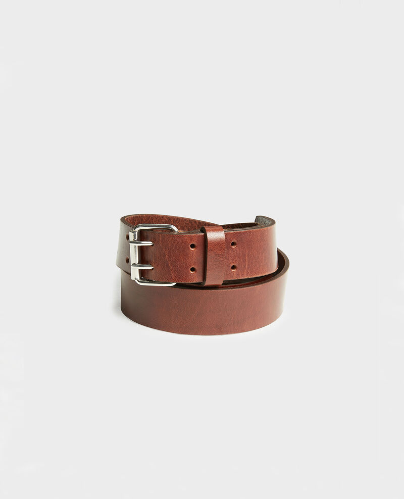 Leather belt with rectangular buckle Coffee bean Megrit