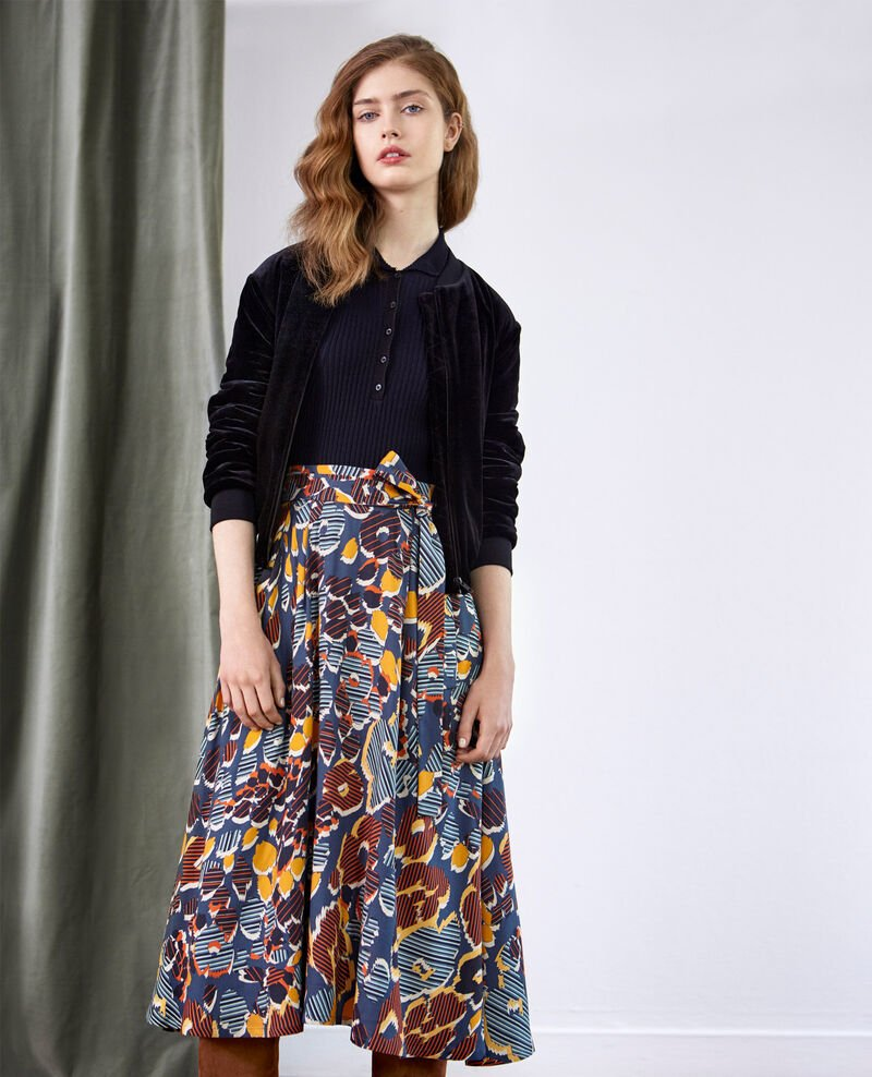Printed midi skirt Shaft curcuma Dacteur