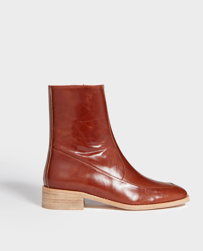 Fitted leather boots  Camel Lamine
