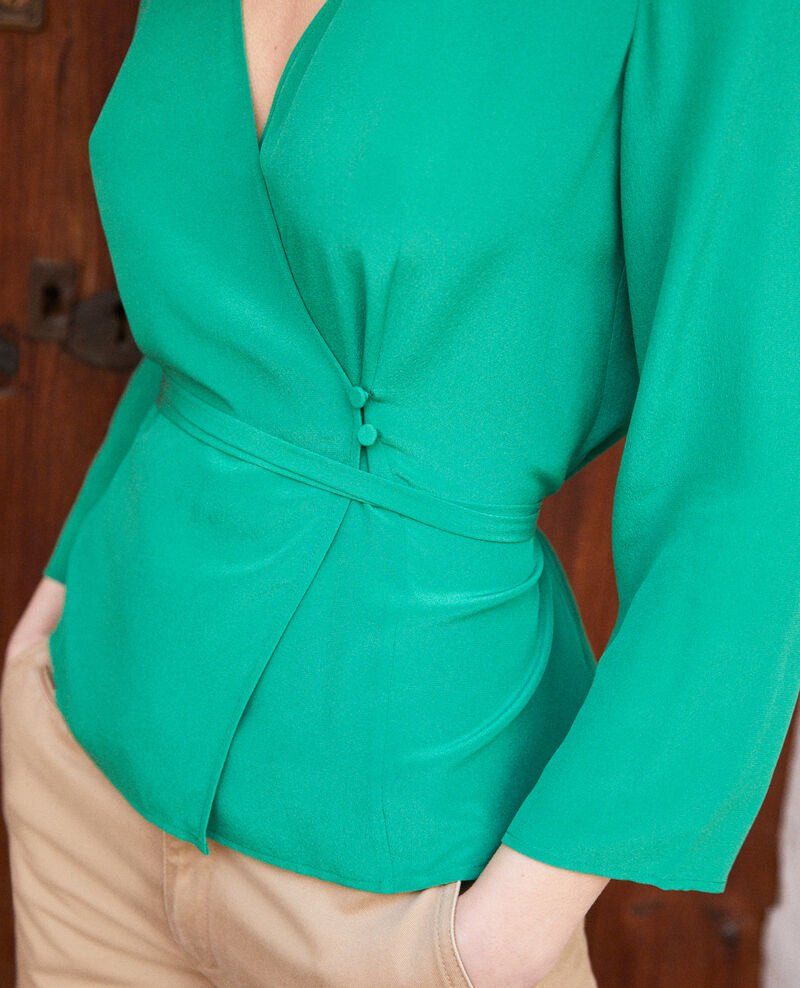 Silk wrap blouse Green Itocoeur