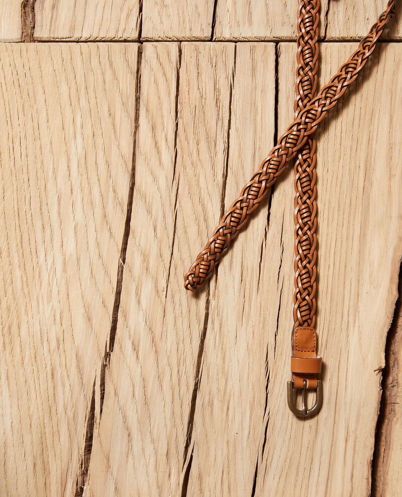 Braided leather belt Glazed ginger Glane