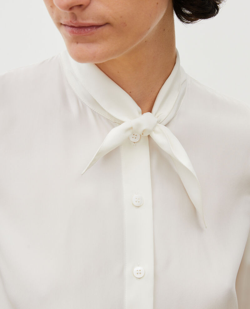 Long-sleeve tie neck silk blouse Gardenia Margueray