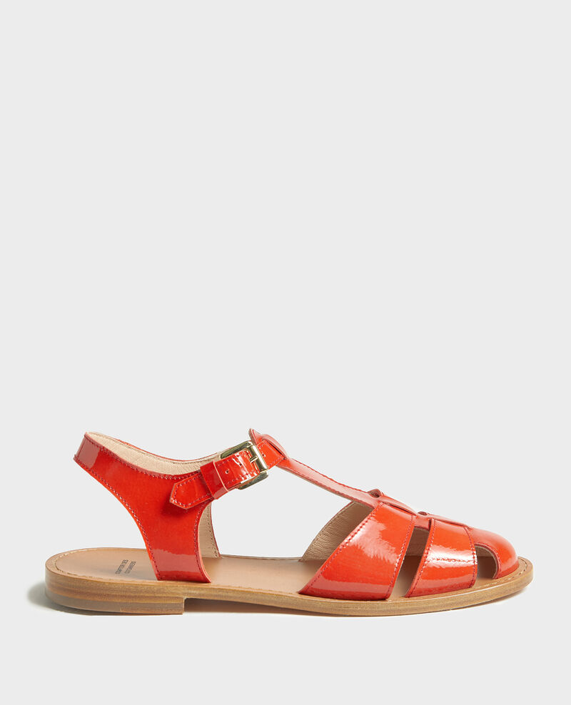 Patent leather sandals Fiery red Lapiaz
