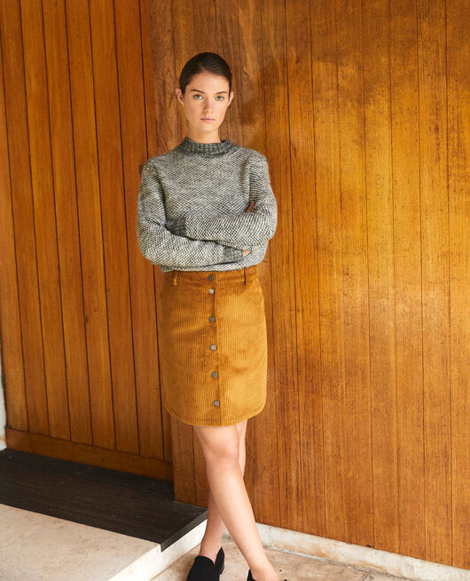 Ribbed corduroy skirt GOLDEN BROWN