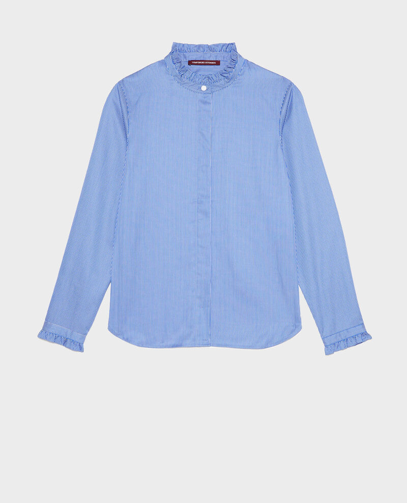Ruffled high collar cotton shirt Blue as proto Mercenarai