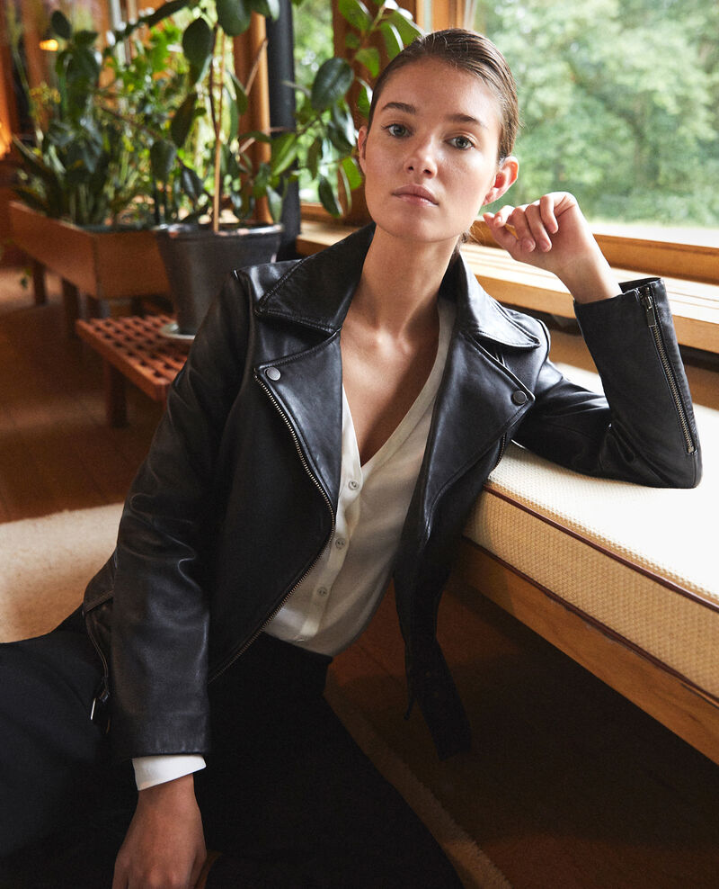 Timeless leather jacket  Black Galaxie