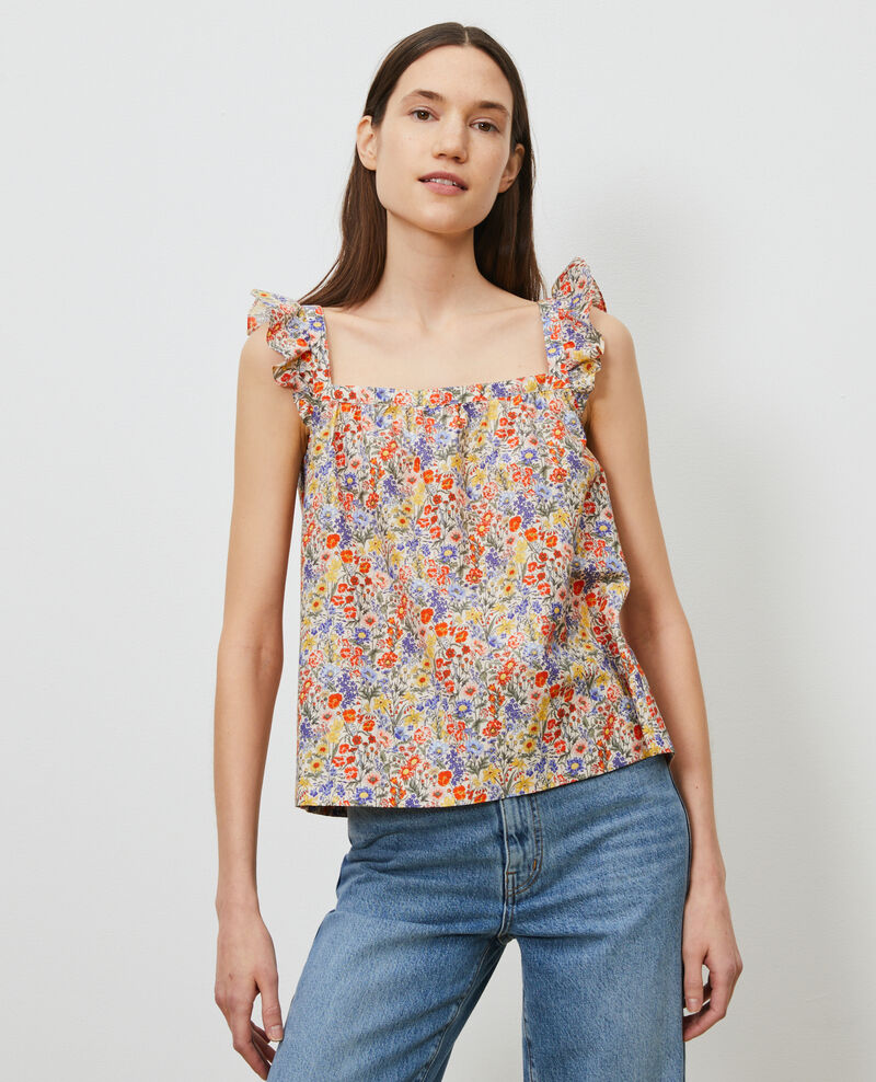 Cotton and silk strappy top Prairie gardenia Nympha