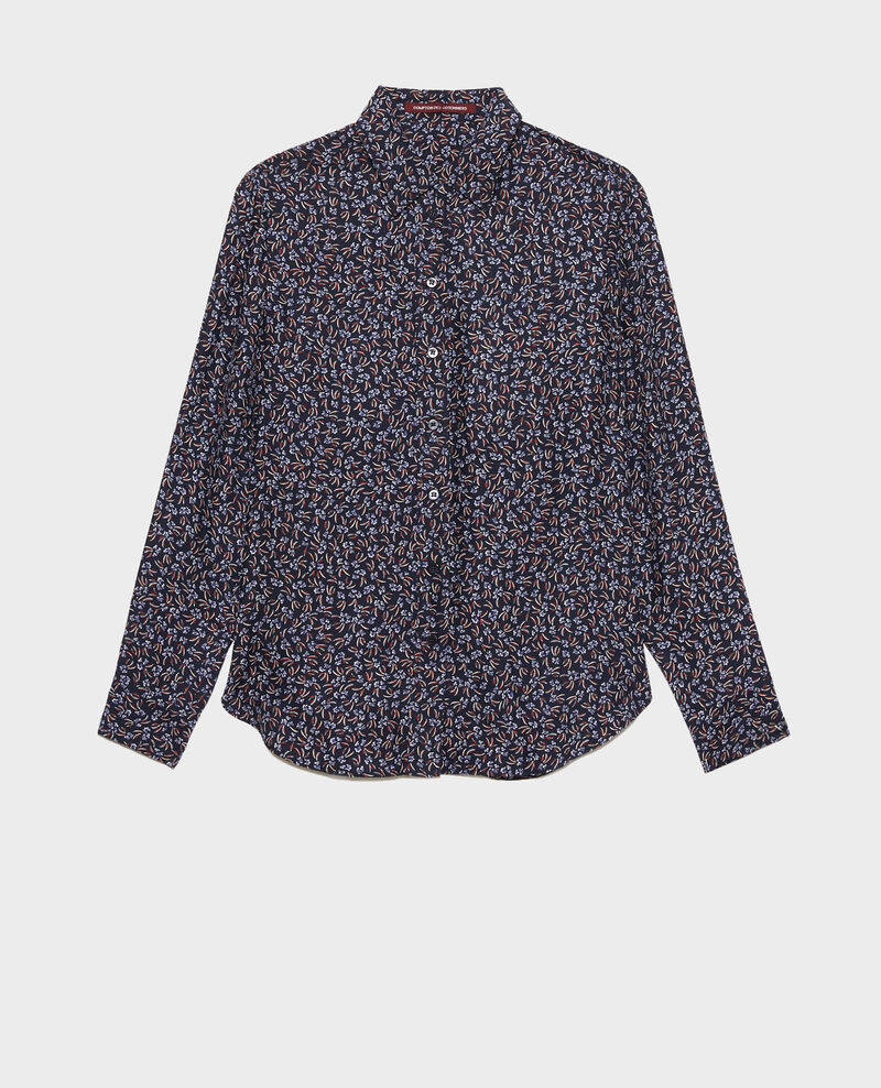 Printed silk shirt Clochette navy Nabilo