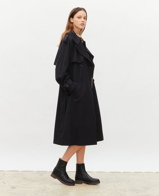 Long loose wool trench BLACK BEAUTY