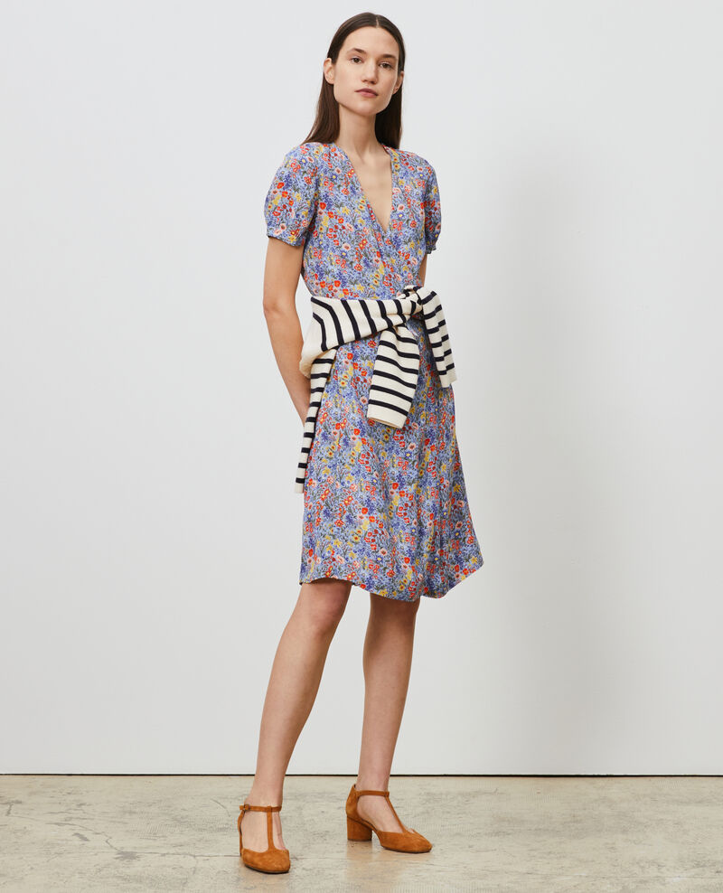 Printed wrap dress Prairie blue heron Nigent