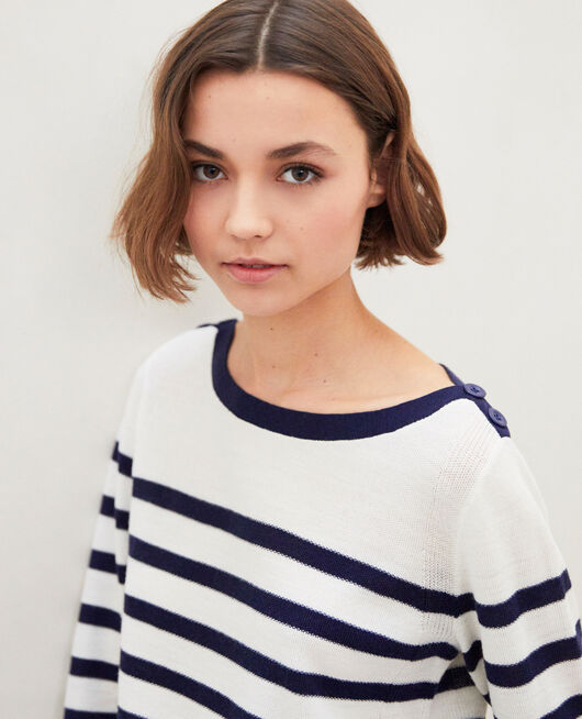Striped wool jumper OFF WHITE/NAVY