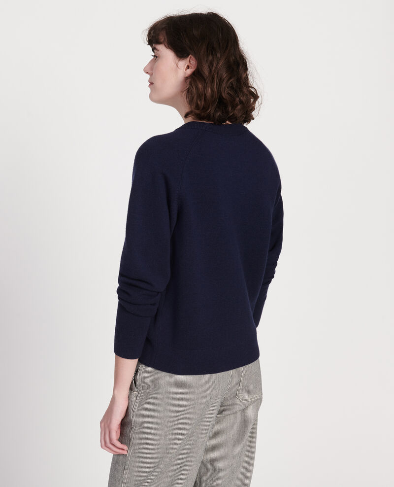 Classic wool cardigan Maritime blue Louvres