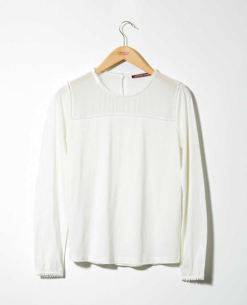 Bimaterial T-shirt with pompom details White Glivoire