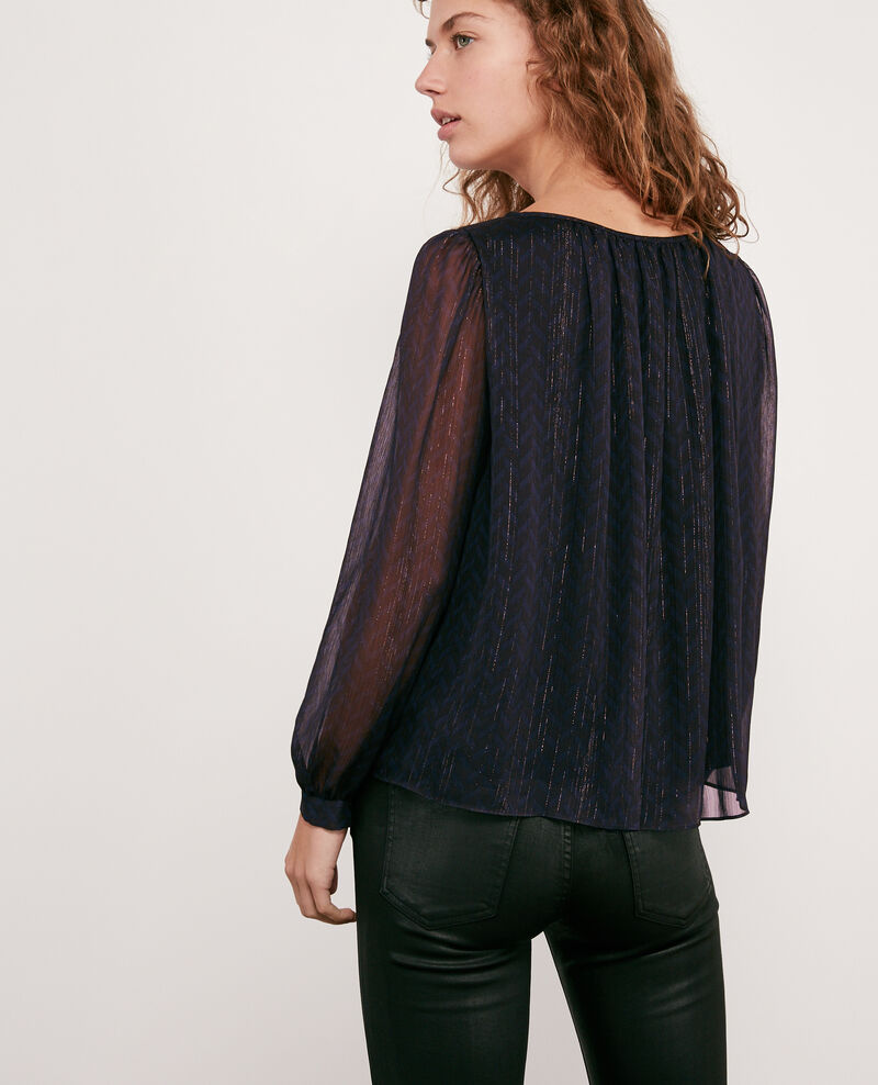 Blouse with lurex details Studio 54 navy Doutside