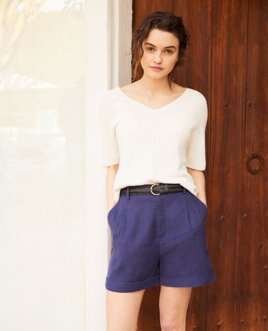 Linen blend bermuda shorts SAPPHIRE NAVY