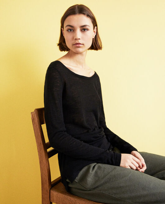 Round neck wool jumper NOIR