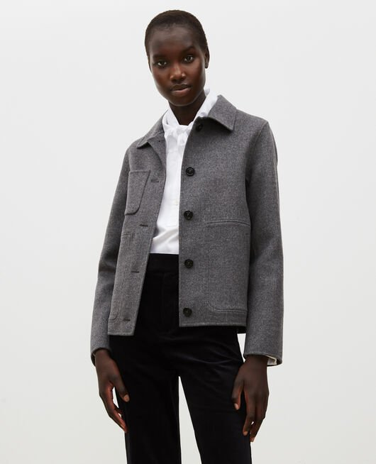 Double-sided wool jacket MEDIUM GREY MELANGE