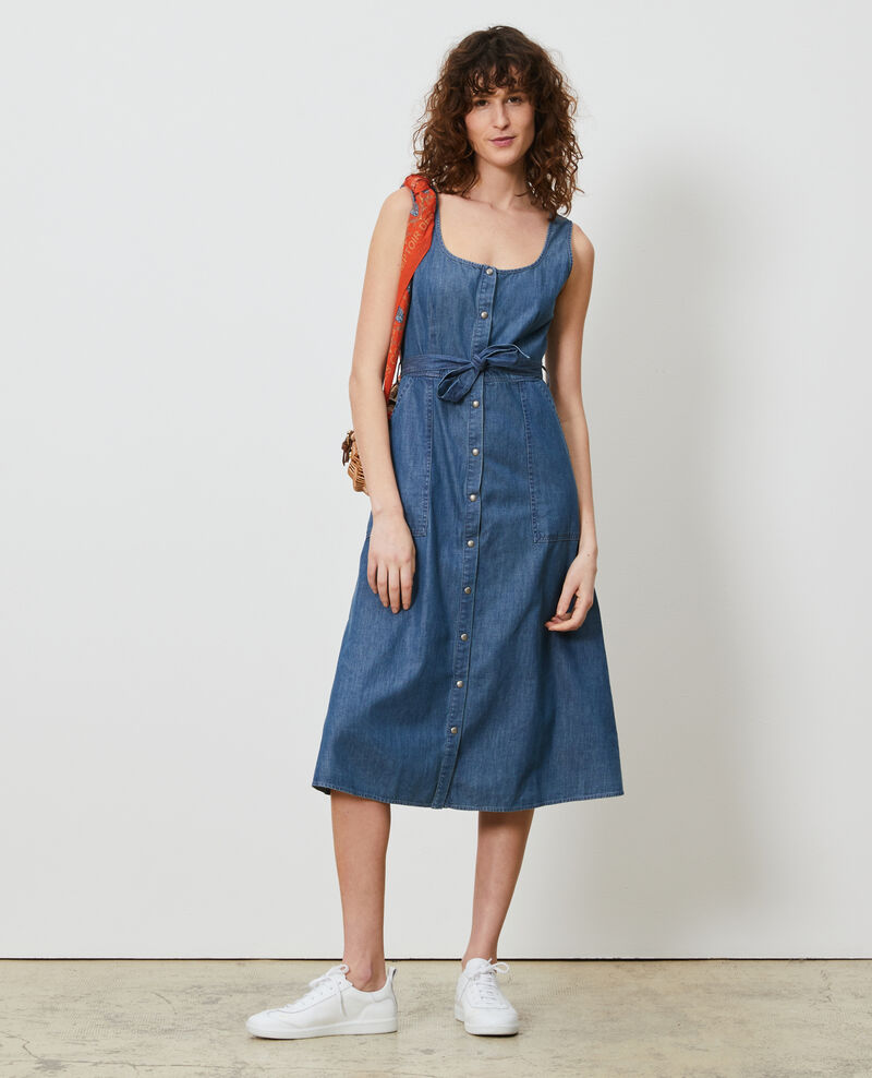Strappy denim dress Denim blue Noisa