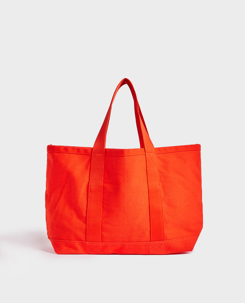 Multi-pocket cotton tote bag Spicy orange Naive