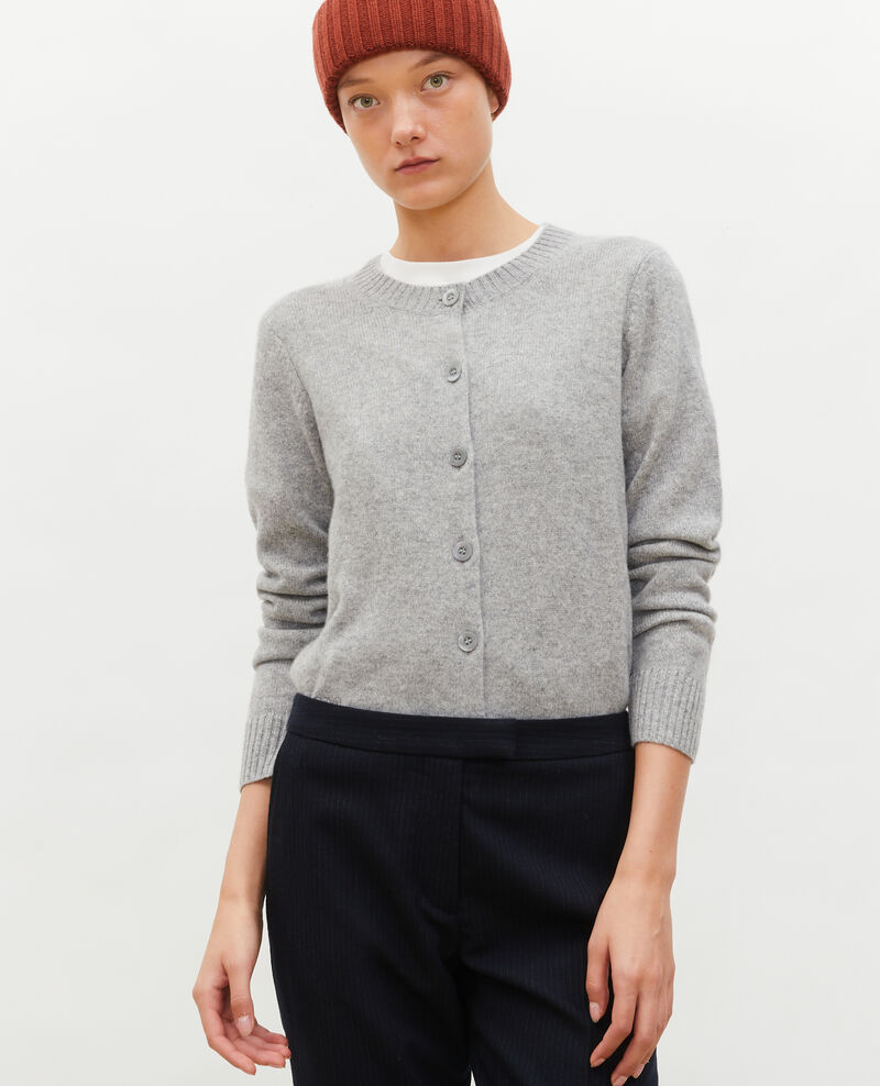 Round neck cashmere cardigan Light grey melange Marolle