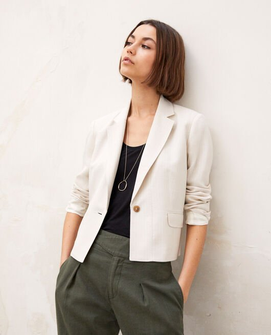 Short blazer DUST BEIGE/OFF WHITE