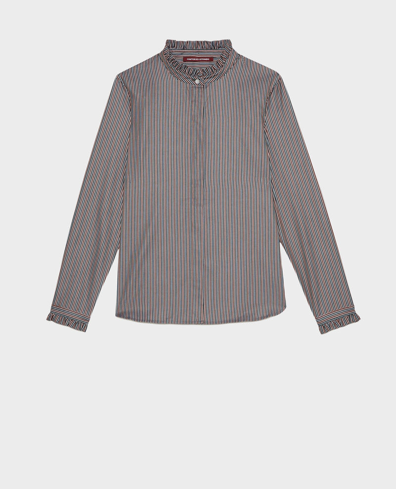 Ruffled high collar cotton shirt Stripes3 scarab Marcenarai