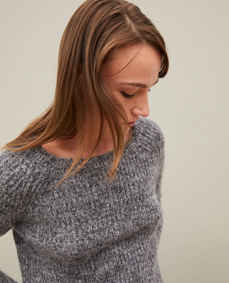 Flecked mohair jumper Light grey/noir/silver gray Girofle