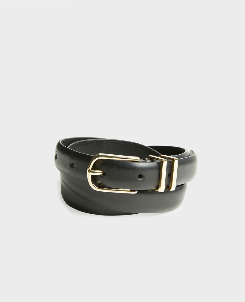Leather belt with gold buckle and loops Black beauty Mendite