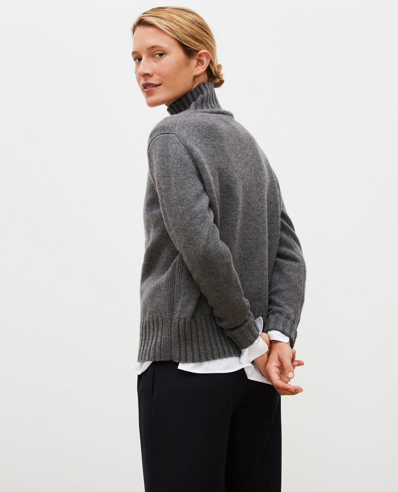 Chunky ribbed turtleneck jumper Medium grey melange Marques