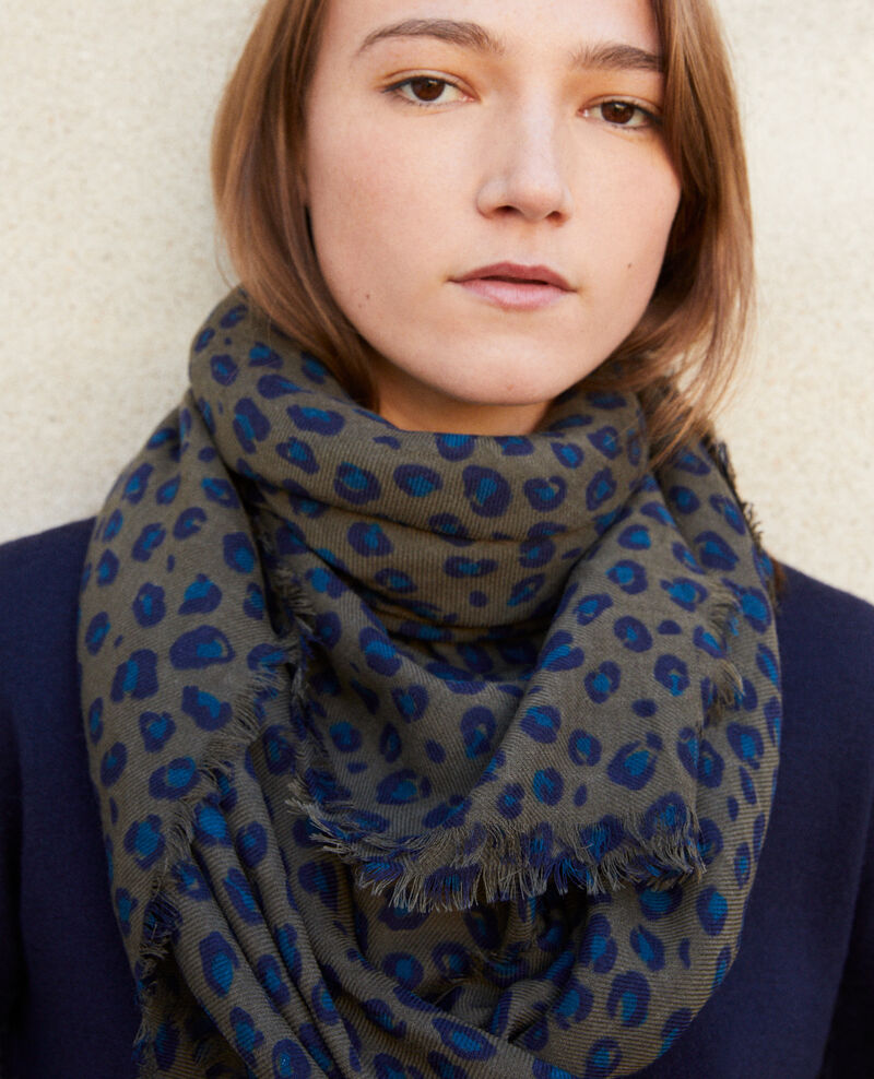 Printed wool scarf Blue leopard olive night Grae