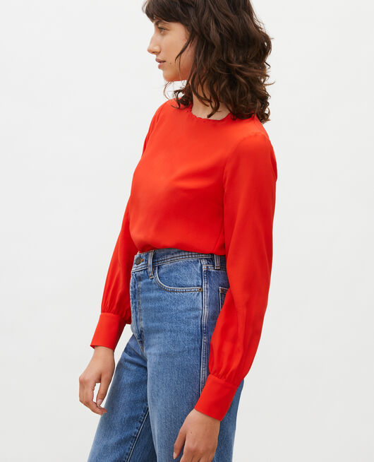Embroidered silk blouse FIERY RED