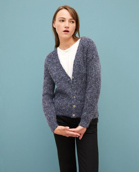 Flecked mohair cardigan MEDIEVAL BLUE/NOIR/OFF WHITE