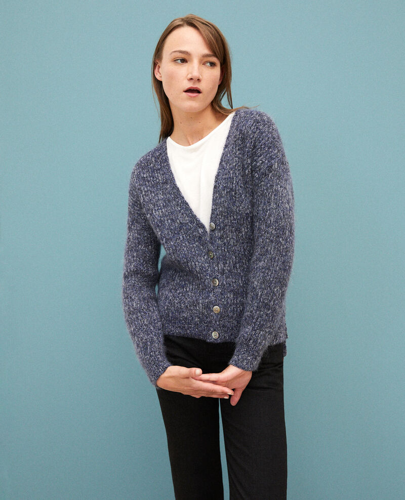 Flecked mohair cardigan Medieval blue/noir/off white Guenael