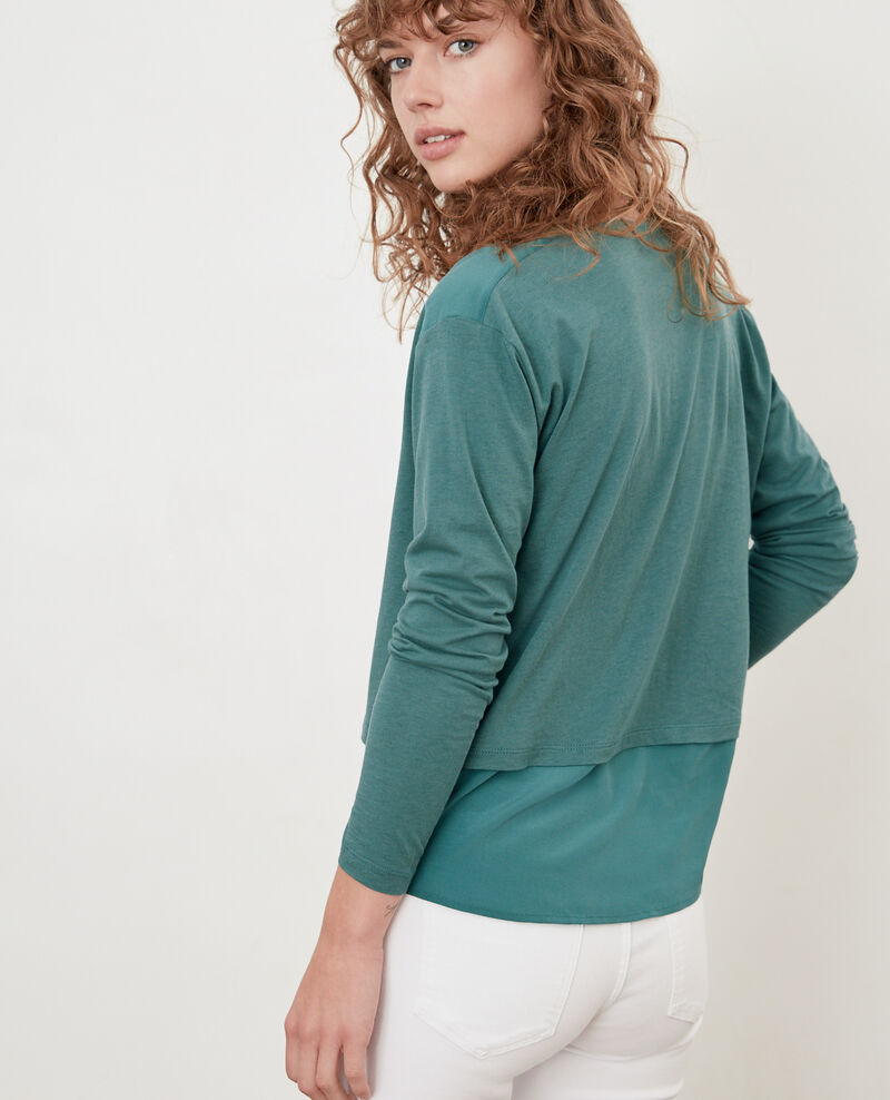 Bimaterial T-shirt with silk Blue Fabio