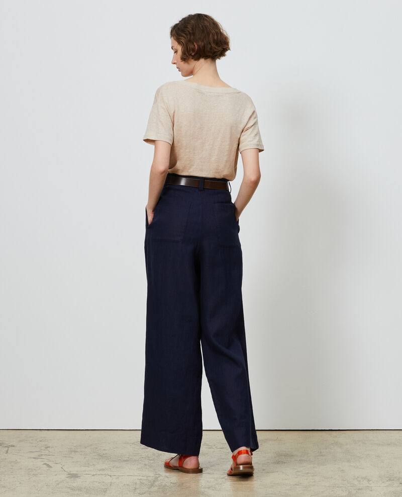 Linen high-waisted trousers YVONNE Maritime blue Lafare