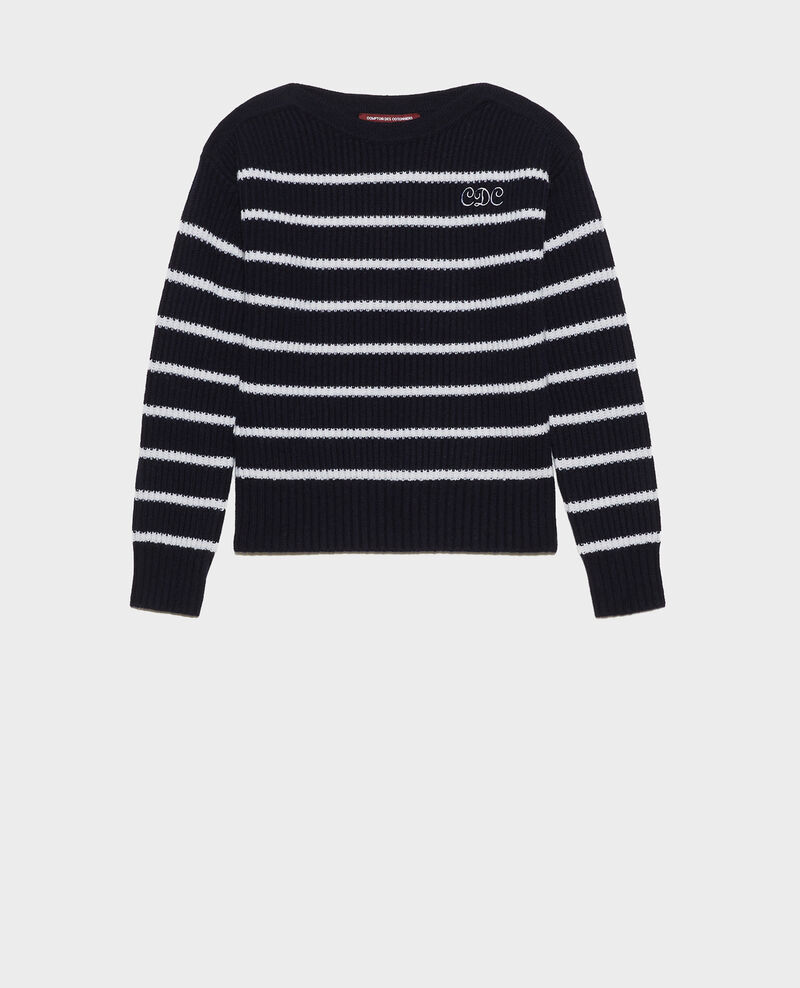 Boatneck striped wool jumper Stripe nightsky jetstream Marseille
