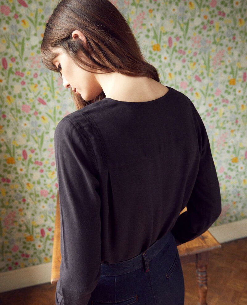 Embroidered blouse Noir Jistaline