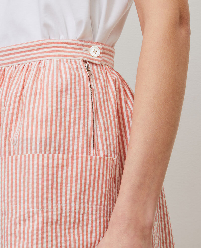 Cotton seersucker midi skirt Str purepumpkin white Nebaral