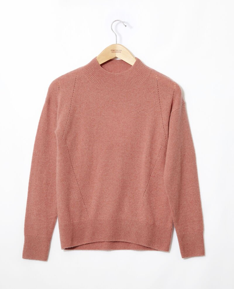 Cashmere jumper with high collar  Old rose Gladissio