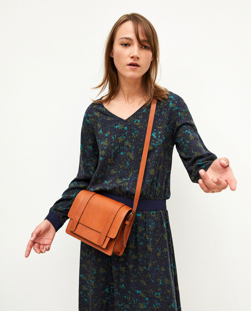 Smooth leather bag, small model Marron Garta