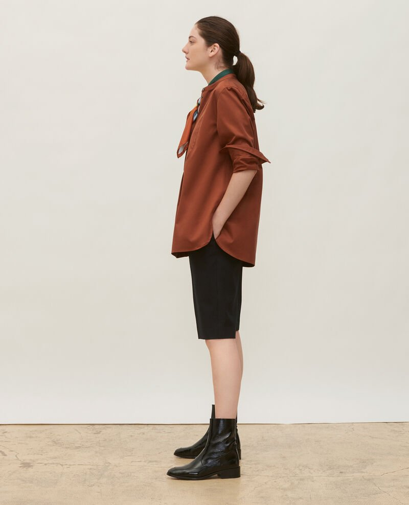 Oversize cotton shirt with bib front Tortoise shell Mime