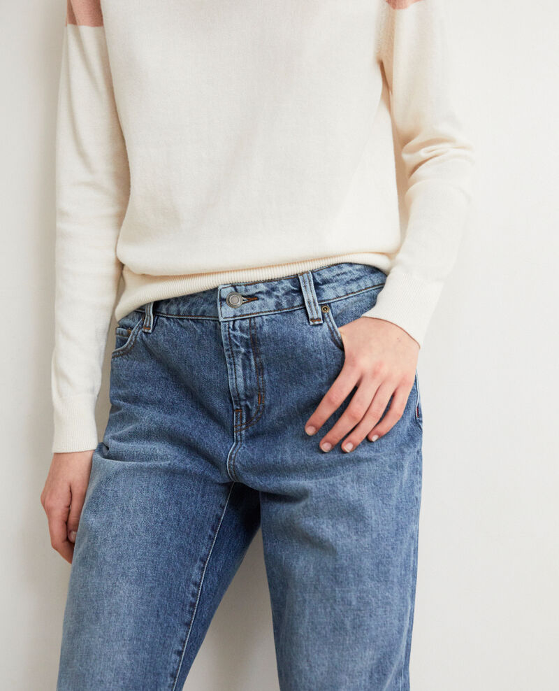 Straight jeans with slits Vintage wash Istro