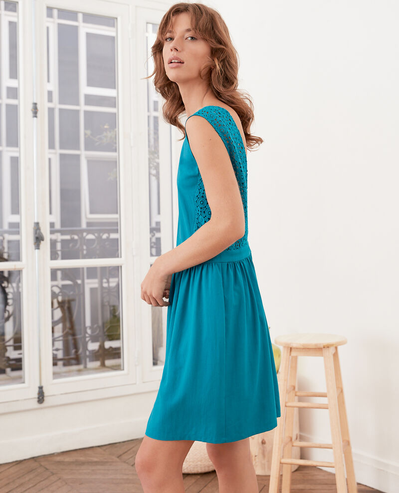 V-back lace dress   Pacific green Farseille