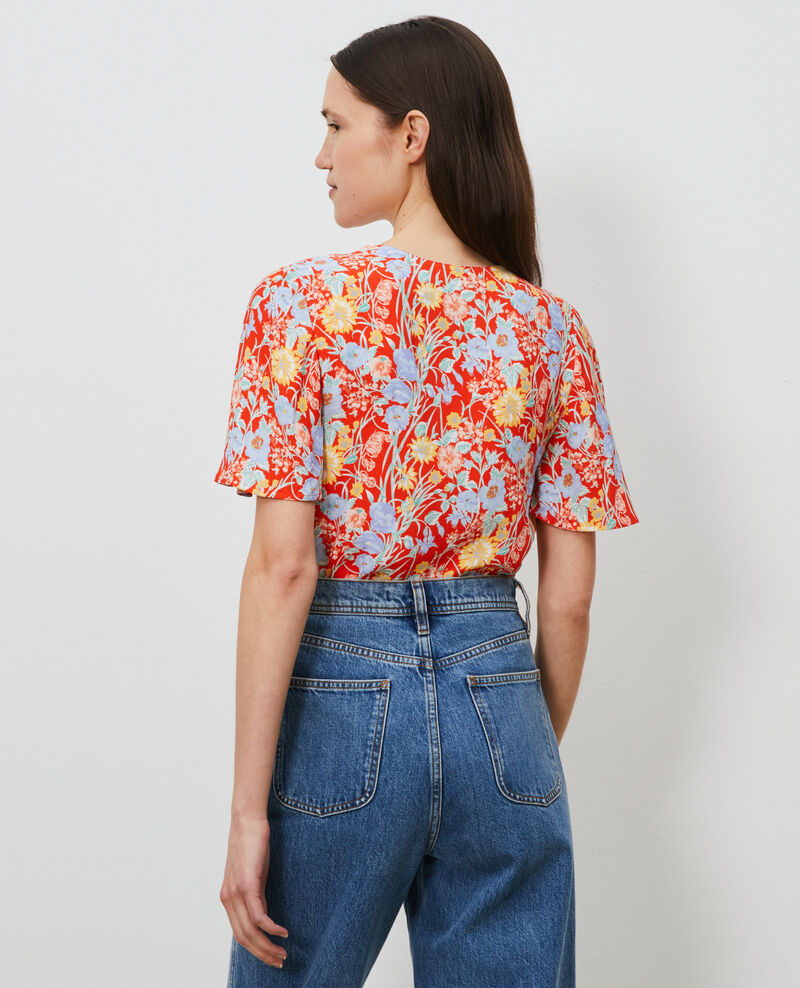 Floral print V-neck top Ete red small Nabrief