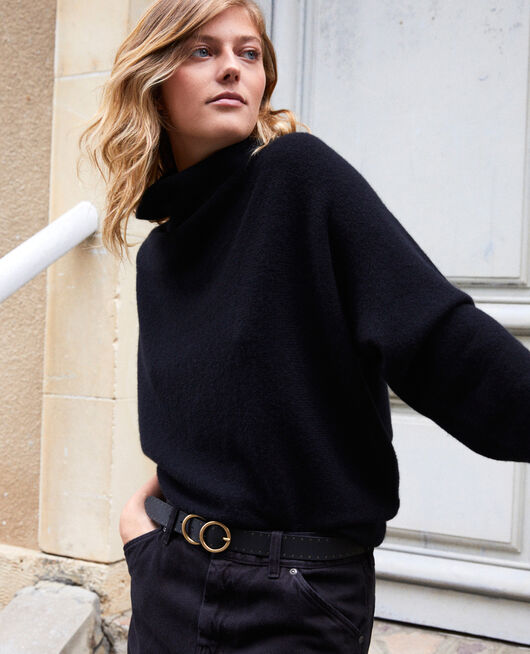 Turtleneck cashmere jumper NOIR
