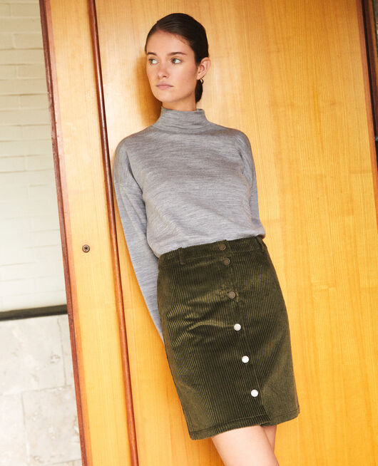 Ribbed corduroy skirt OLIVE NIGHT